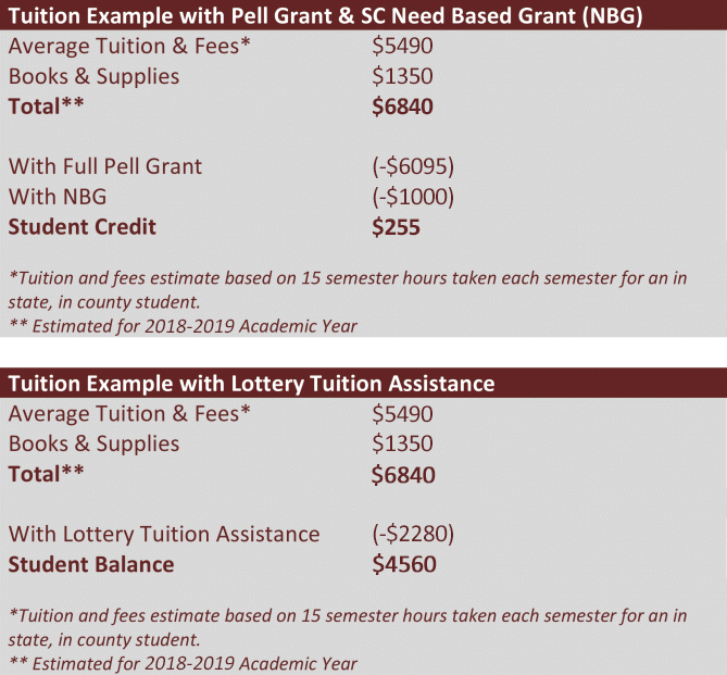 Examples of Tuition and Fees after financial aid.